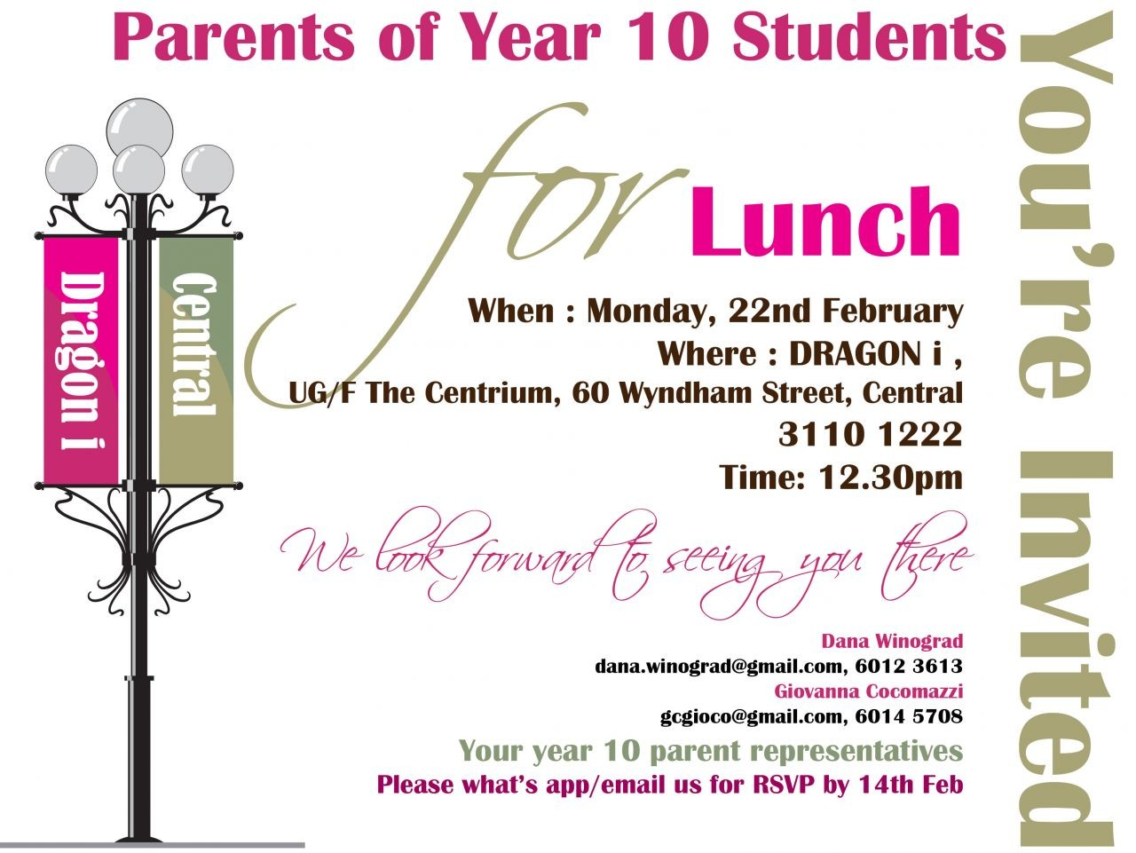 Year 10 Parents lunch 2016