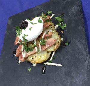 Potato Galette with Ham, Poached Eggs and Truffle Oil